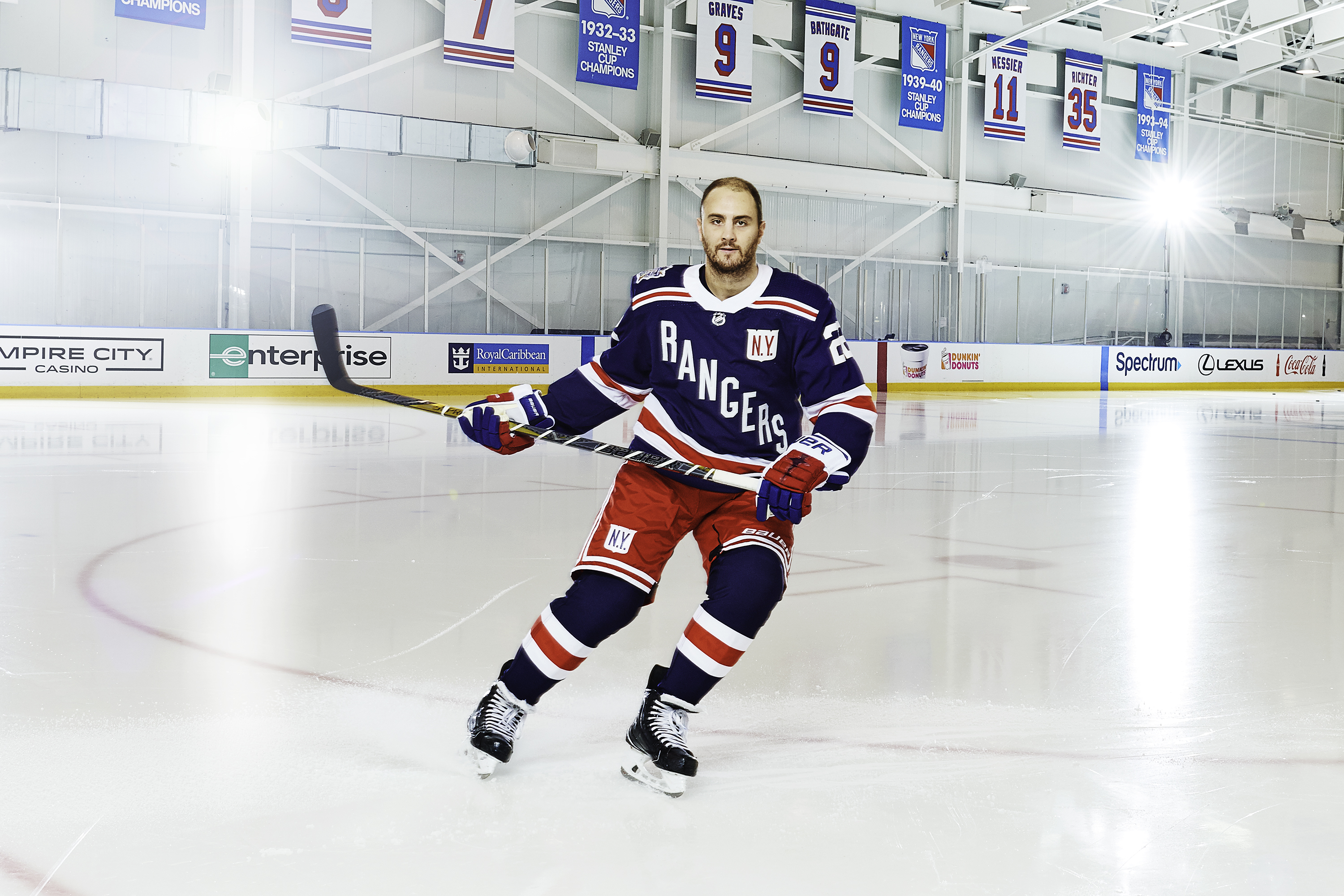 The Rangers  NHL Winter Classic adidas adizero Authentic Pro jersey  features the team s traditional color scheme of red 6267fba01
