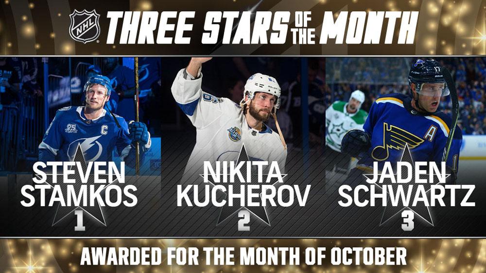 Stars of the Month, Stamkos, Kucherov, Schwartz