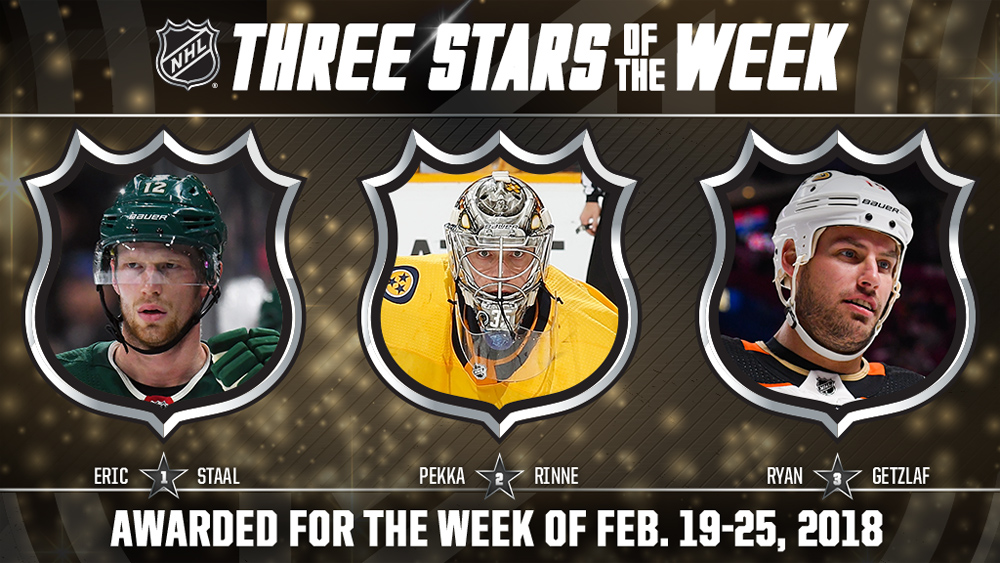 Stars of the Week, Staal, Rinne, Getzlaf