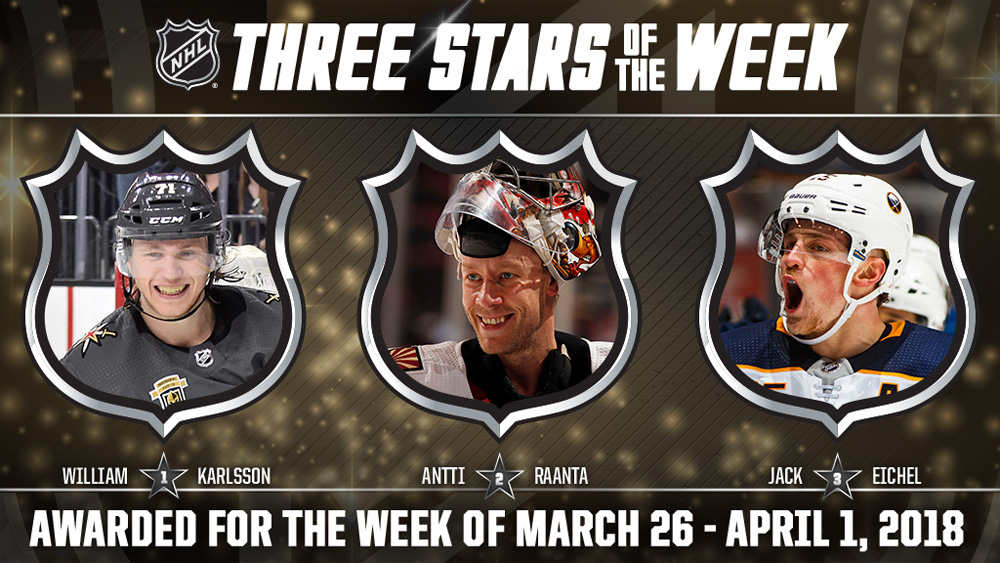 Stars of the Week, Karlsson, Raanta, Eichel
