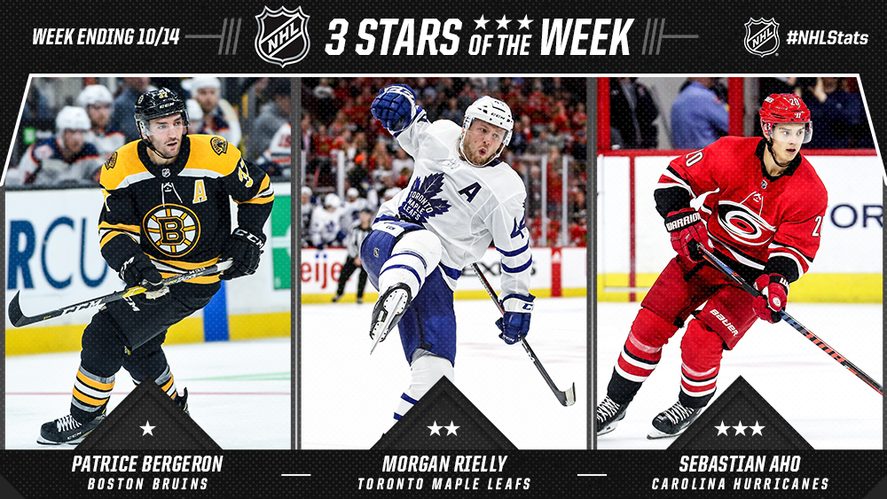 Stars of the Week, Bergeron, Rielly, Aho