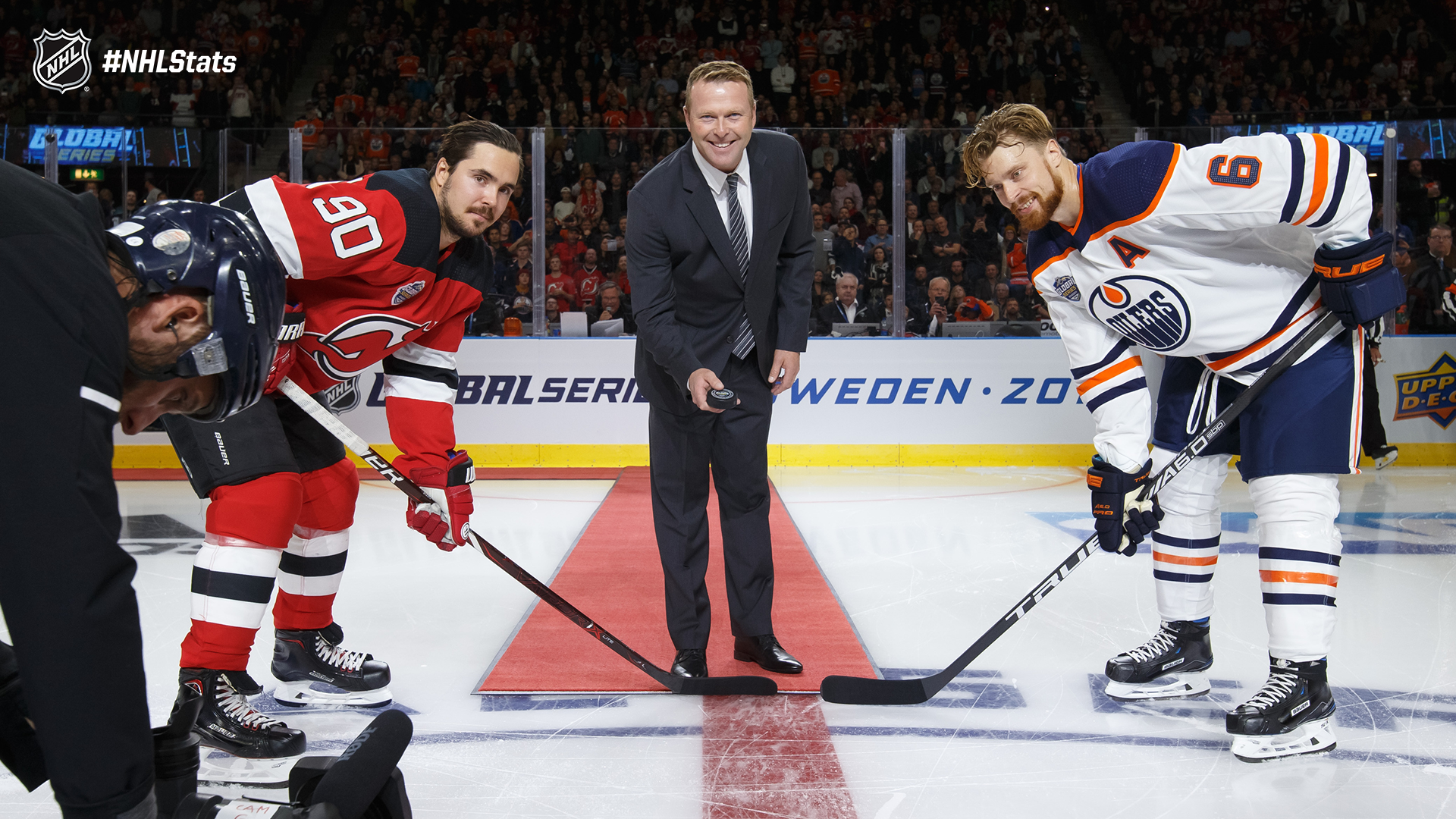 0602363fc ... was on hand for the ceremonial puck drop which included a pair of  Swedish-born players  Marcus Johansson (NJD) and Adam Larsson (EDM). Click  the photo ...