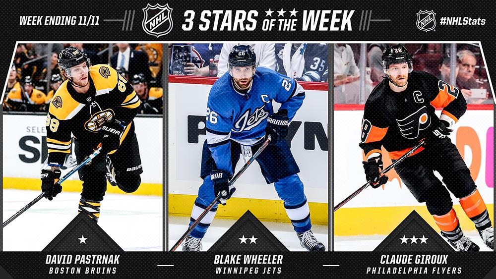 Stars of the Week, Pastrnak, Wheeler, Giroux
