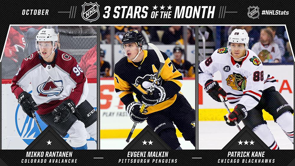 Stars of the Month, Rantanen, Malkin, Kane