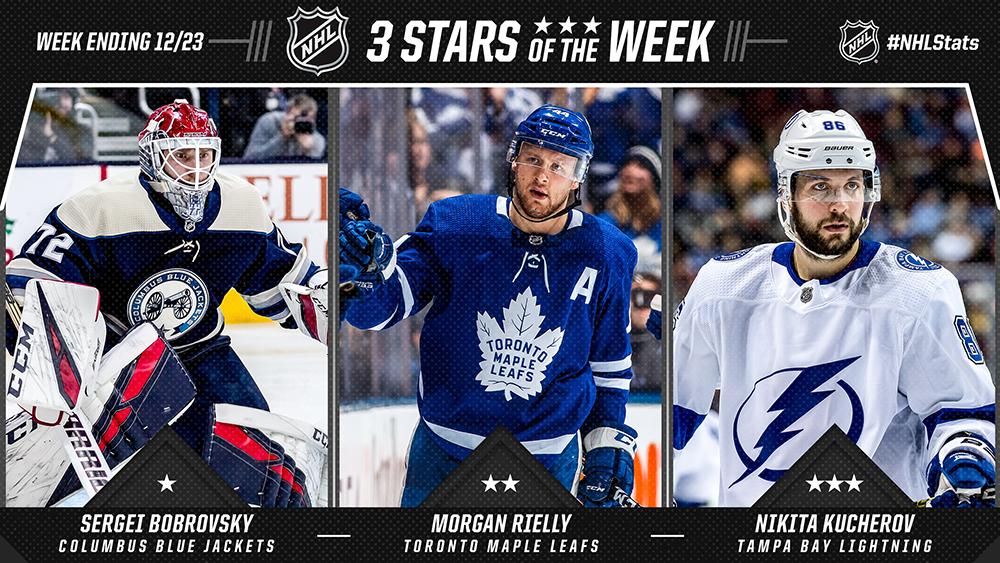 Stars of the Week, Bobrovsky, Rielly, Kucherov
