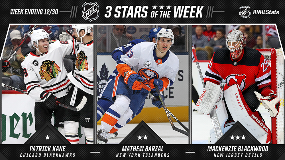 Stars of the Week, Kane, Barzal, Blackwood