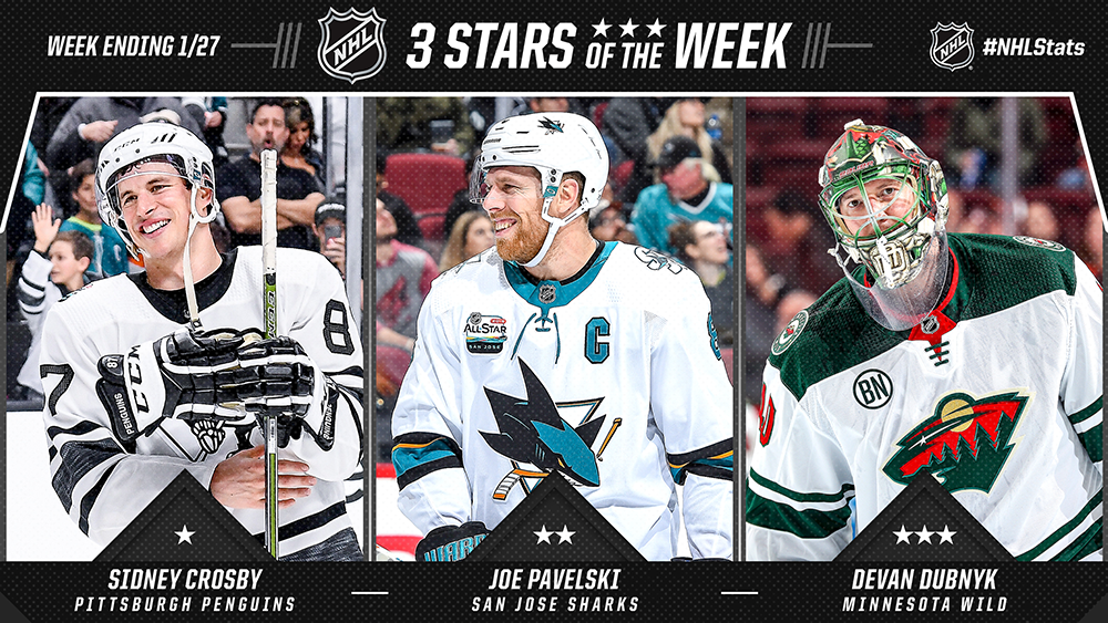 Stars of the Week, Crosby, Pavelski, Dubnyk