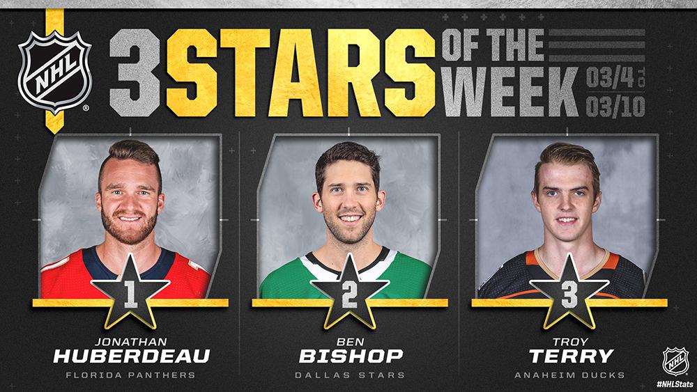 Stars of the Week, Huberdeau, Bishop, Terry