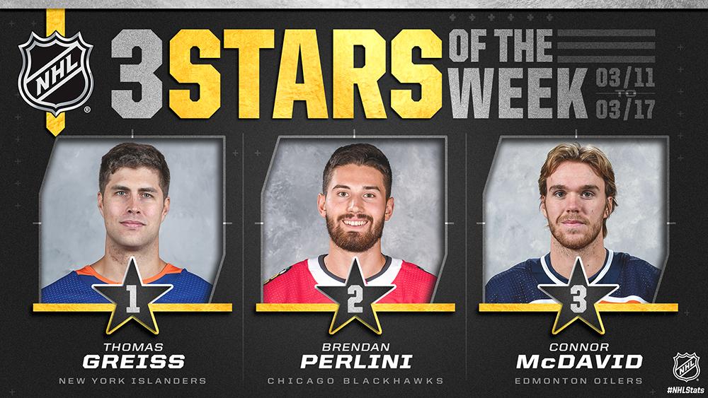 Stars of the Week, Greiss, Perlini, McDavid