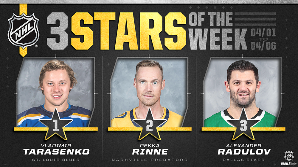 Stars of the Week, Tarasenko, Rinne, Radulov