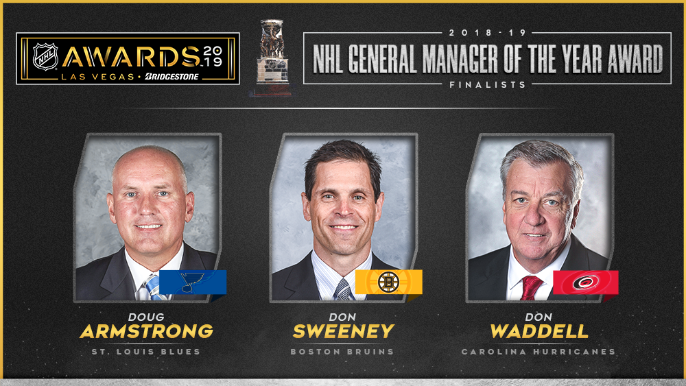 NHL Awards General Manager of the Year Armstrong Sweeney Waddell