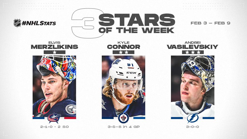 Merzlikins, Connor and Vasilevskiy Named NHL 'Three Stars' of the Week