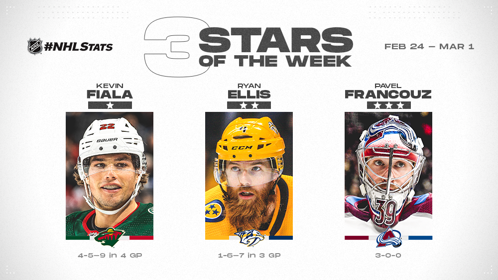 Three Stars of the Week, Fiala, Ellis and Francouz